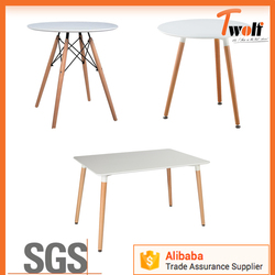 plastic round table / plastic dining table with wood legs / Wood table TC62