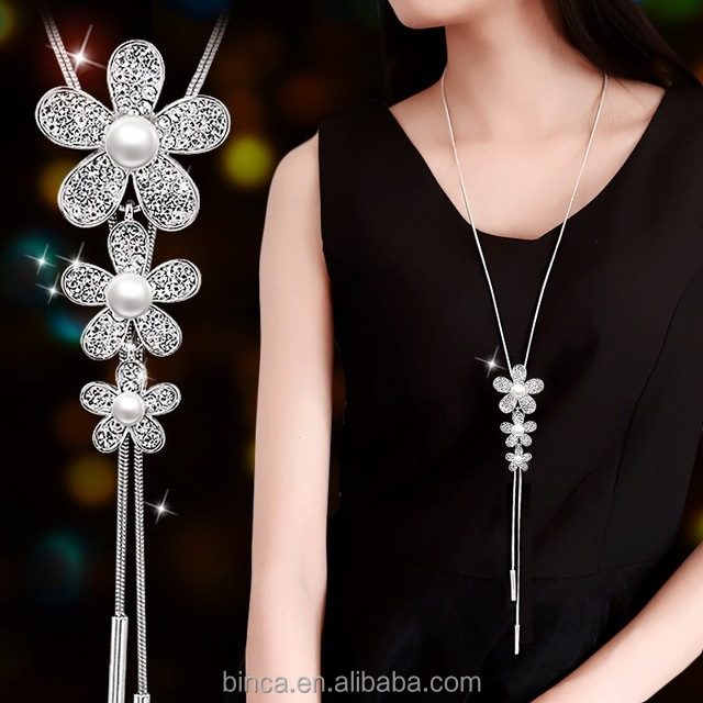 Fashion rhinestones flower Necklaces Long chain Necklace fashion jewelry have stock JH12