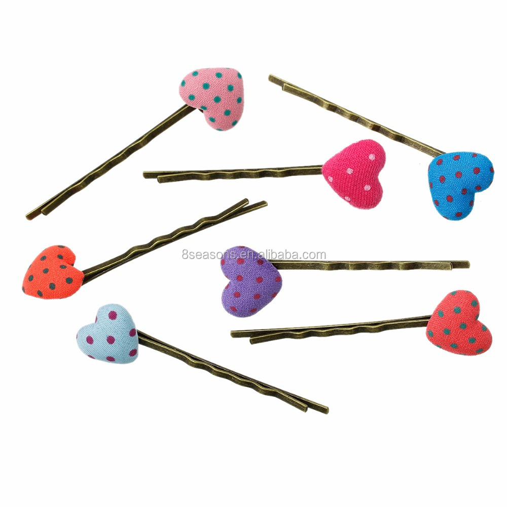 Handmade Cloth Heart Dot Pattern Bobby Pins Hair Clips for Kids