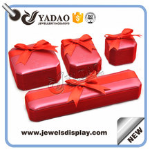 Red velvet cover custom size jewelry plastic storage box with bow-knot