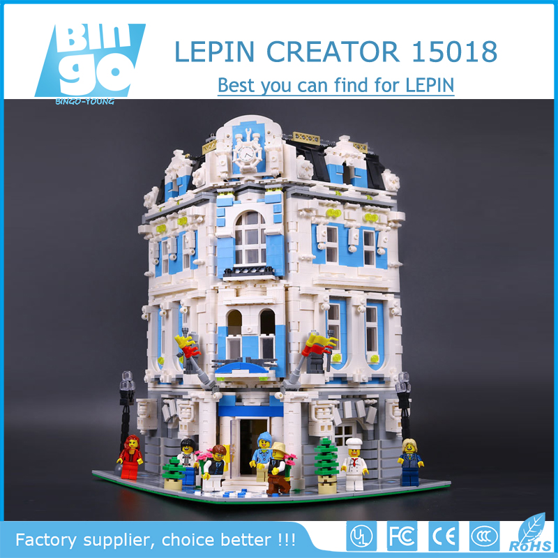 Bingo 3196pcs Creator City Series 15018 Sunshine Hotel Model Building Kits Brick Toy Christmas Gifts