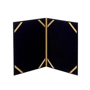 Classic Black pu leather velvet certificate holder for A4 certificate