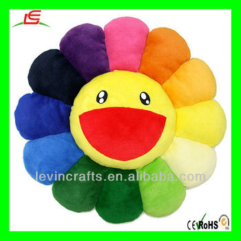 Colorful Sun Smile Plush Flower Cushion