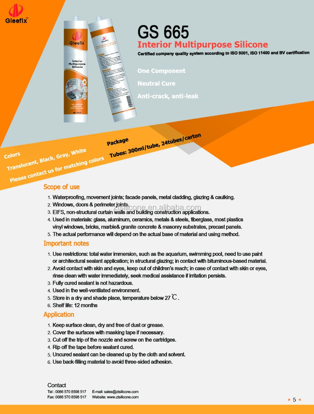 Quick-curing High Adhesive Strength And High Modulus Neutral Silicone adhesive