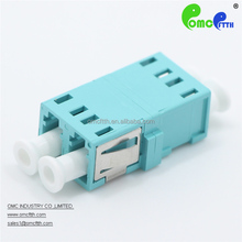 High quality China made OM3 LC DX Flangeless fiber optic adapter with metal sheet and window