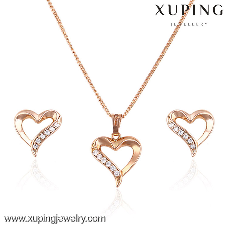 63573 bridal jewellery hot new products for 2016 heart shape jewelry sets rose gold plated custom jewelry set
