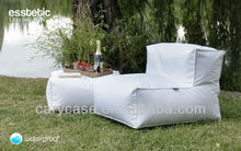 Outdoor bean bag lounger with ottomans , relaxig chair with footrest