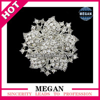 Vintage Crystal Rhinestone Brooch Pin Flower