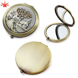 Antique Brass Compact Mirror Metal Luxury Pocket Mirror