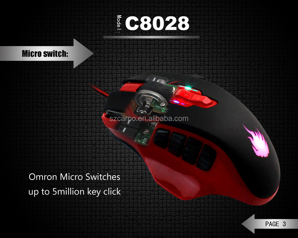 Factory patent best professional I9800 gaming mice 19keys gaming mouse ,16400DPI any colors custome C-8028