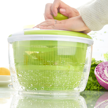 Green salad Washer with handle collapsible salad spinner with bowl
