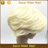 Large Stock Super Quality White Short Curly Hair Wigs
