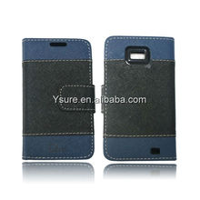 Mix colors TPU and PU wallet leather case for Samsung s2 i9100