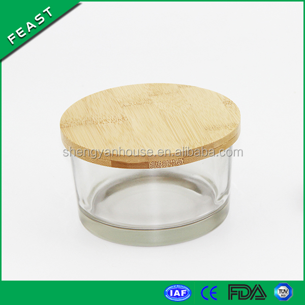 100 ml Small glass candle jar wholesale with bamboo lid