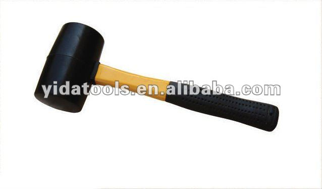 Rubber hammer with fiberglass handle