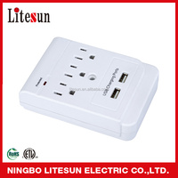 UL ETL Litesun 3 outlet current tap with 2 USB port surge protector wall socket LA 5S