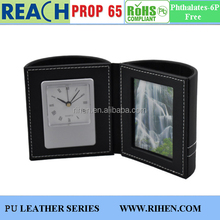 2 Compartments Round Faux Leather Clock Desk Pen Holder With Photo Frame
