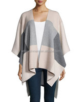2015 winter open front soft 100% cashmere poncho women