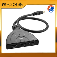 High Quality 3 Port 1080P 3D HDMI cable AUTO Switch 3x1 Switcher Splitter Hub with Cable EL-0020
