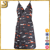 Popular abstract print v-neck dress for women