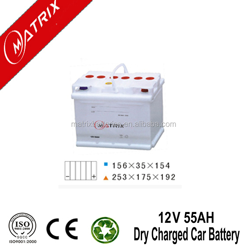 din55 dry cell 12v 55AH 20hr automotive car battery