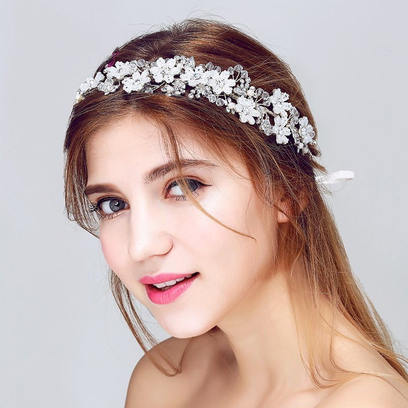 Silver Beaded Floral Bridal Headband Handmade Wedding Hair Accessories Women Jewelry Crystal Headbands with ribbon