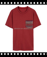 Men Red Short Sleeve With Pocket Embroided T Shirts