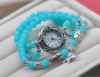Women Elephant Dangle Wrap Bracelet Agate Stone Bead Band Quartz Wristband Watch