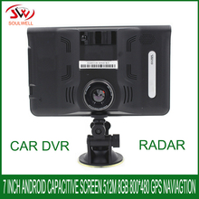 7 inch DDR 512M 16GB Android radar detector GPS Navigator with 1080p car dvr camera