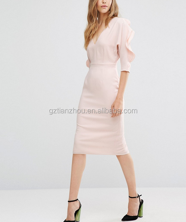 Hot Selling High Quality European Fashion Lady Beautiful Pink Dress Elegant Evening Dresses Ruffle Sleeve Pencil Dress