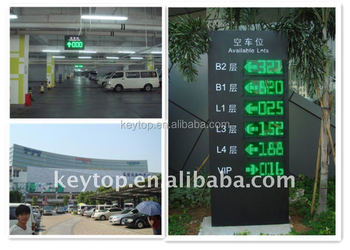 green and red digits outdoor led display placed at entrance of parking garages