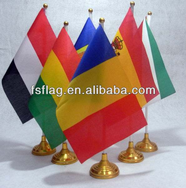 table decoration /polyester table flag with plastic base