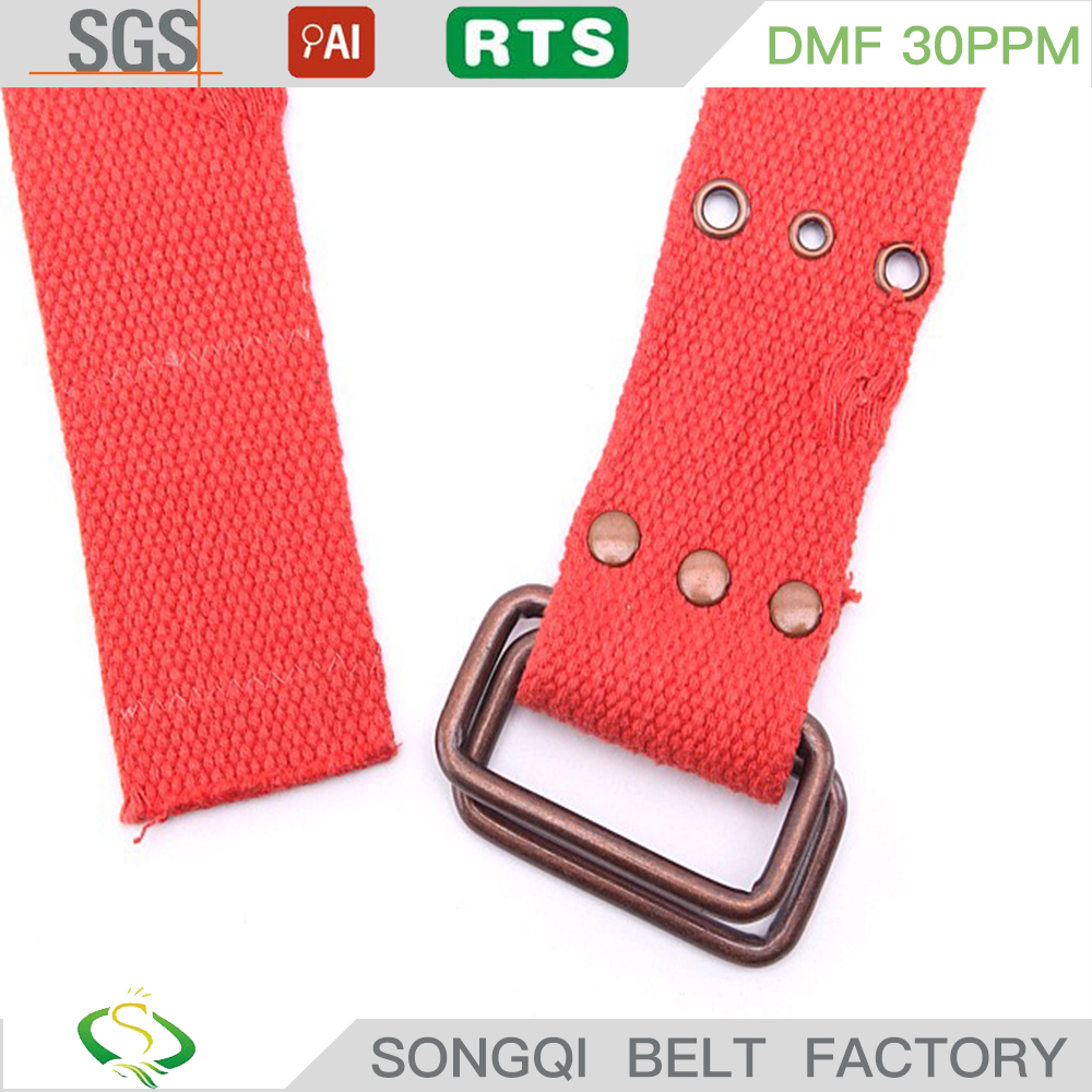 hot sale double ring buckle casual eyelet red Fabric Belt