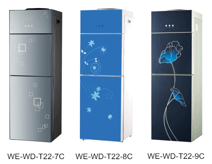 Water Dispenser Glass Top Loading Hot and Cold Water Cooler with Cabinet