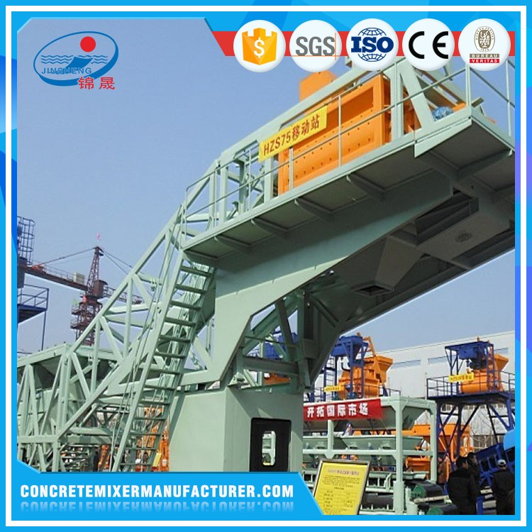 YHZS75 75m3/h Mobile Concrete Batching/Mixing Plant for Large infrastructure projects in Southeast Asia