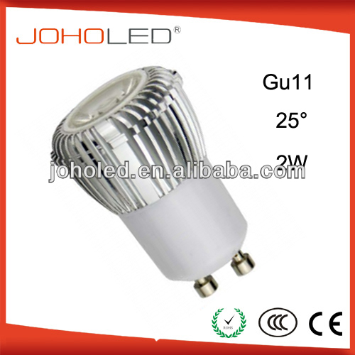 CRI 80 GU11 2W High Power Aluminium + Lens GU11 LED Lamp