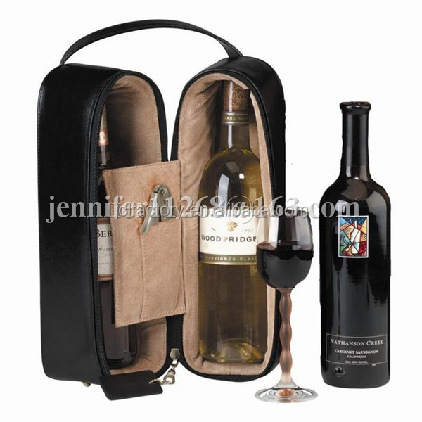 pu leather/genuine leather wine gift bags wine carrier