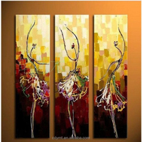 DMT AD Painting Company Custom Canvas Painting Abstract Dance Patterns 3 Panel