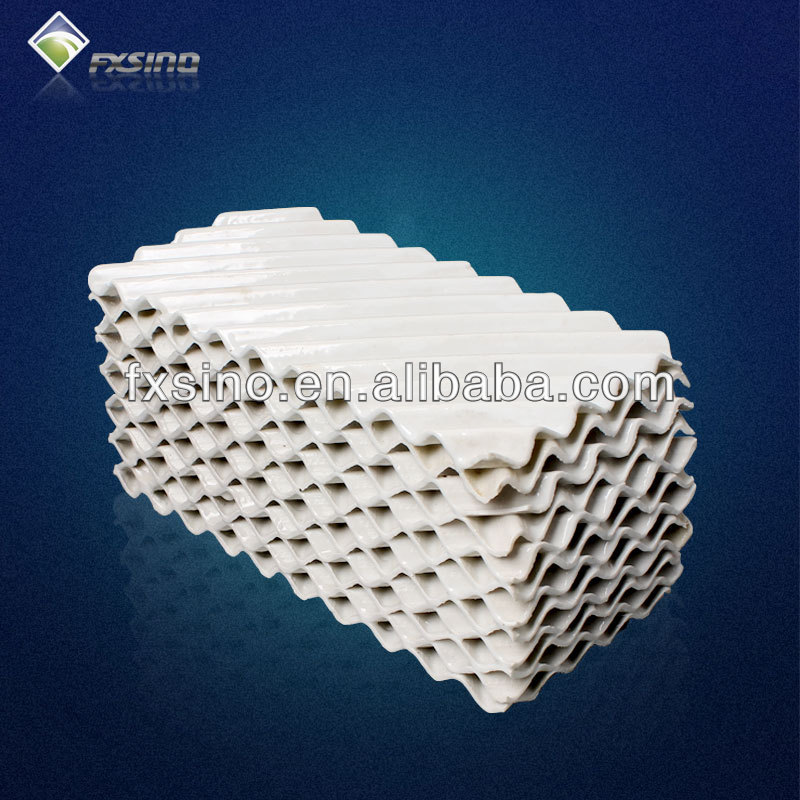 Ceramic corrugated structured packing for separation or absorption