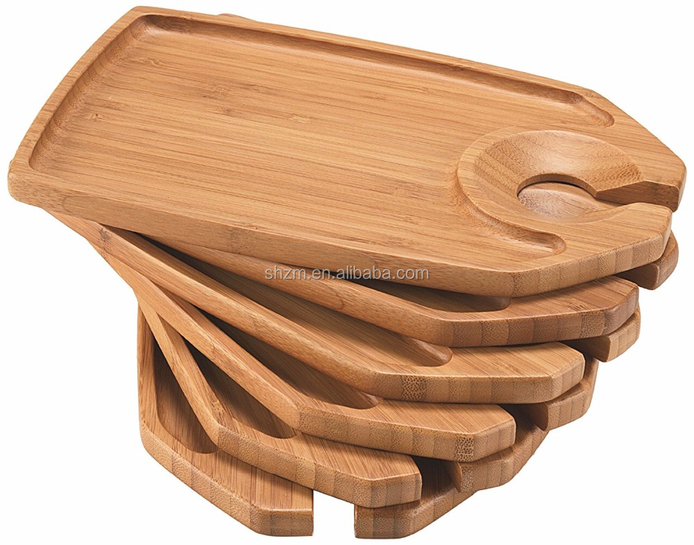 Wholesale Bamboo Party Trays, Set of 6 Canape Plate with Cup Holder FDA/LFGB/SGS