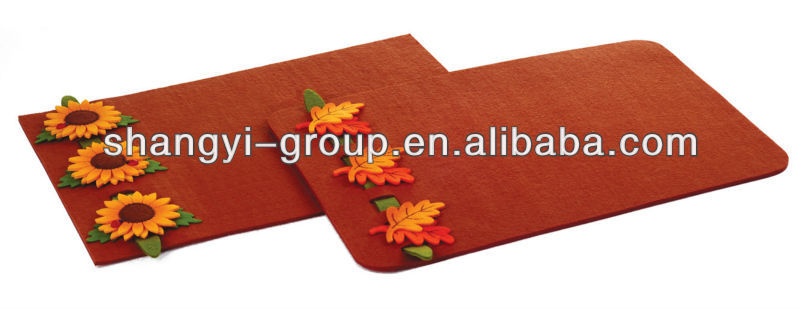 (TA-43)Promotional Felt Placemat With Sunflower Table placemat
