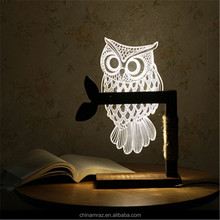 Creative home decor light owl 3d wood led night light for baby, kids bedroom