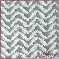 Feather white lace fabric in all over embroidery design 3d tassel fringe lace