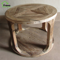 Chinese Antique Reproduction Furniture Vintage Small Wooden Round Coffee Table