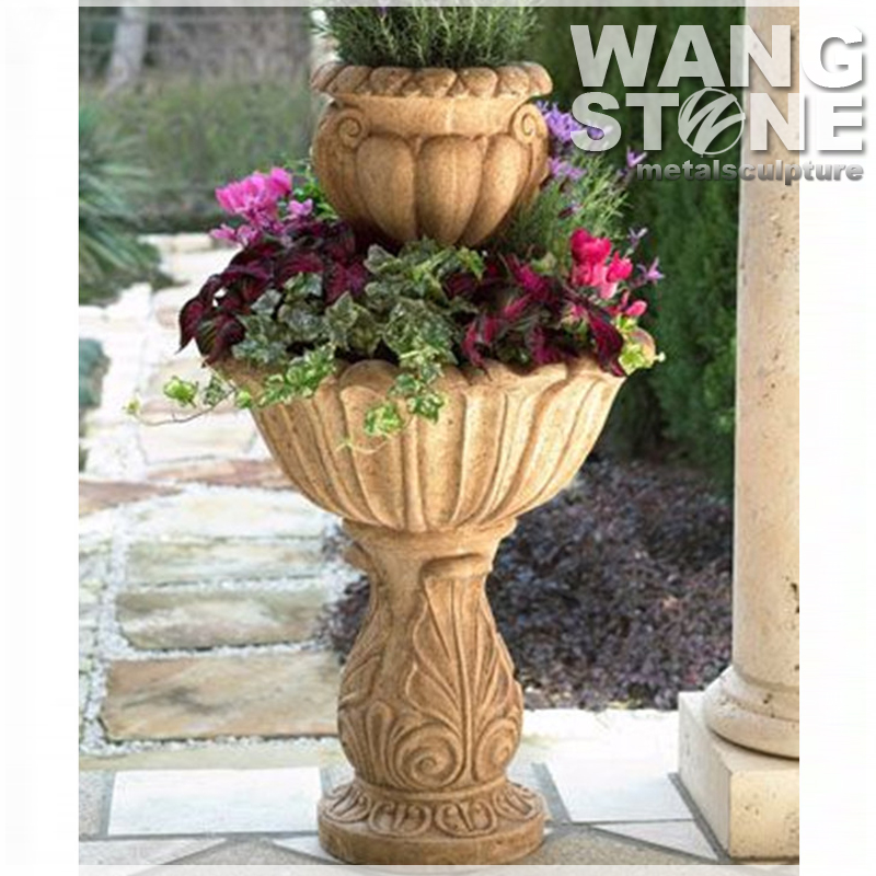 Modern Two-Tier Stone Garden Flower Pot and Planter