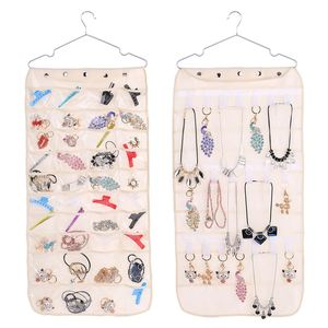 Jewelry Organizer Storage Bag Hanger Necklaces Wall 40 Pockets Hanging Non-Woven Storage Bag 21 Hook and Loops