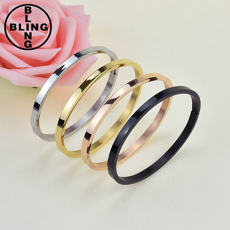>>>2017 high polish simple jewelry design wholesale stainless steel magnetic bangle