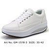 Women Lady Leather Walking White Casual Shape Up Fitness Shoes