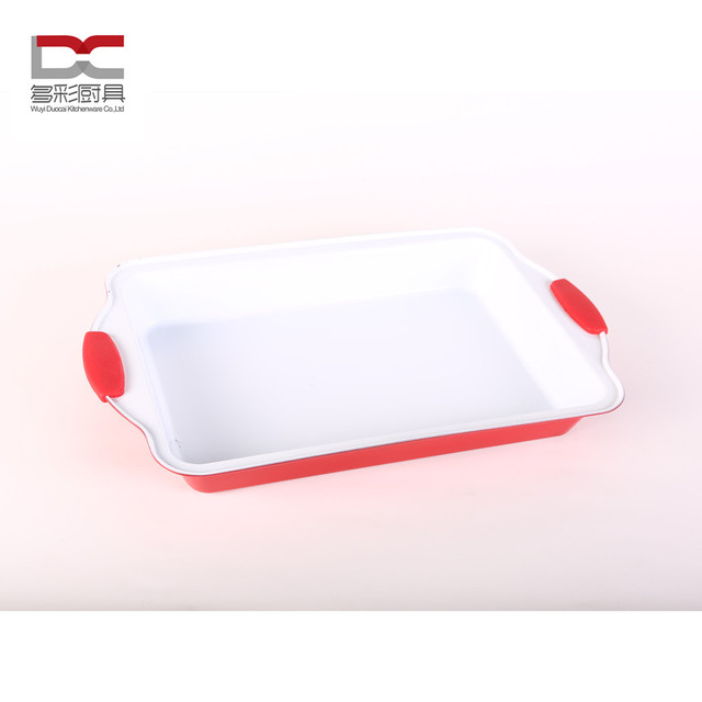 Manufacture red silicon handle white ceramic coating carbon steel iron metal roll rim baking pan