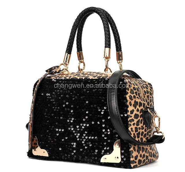 sequin bags 2017 new design lady fashion leopard print pu leather handbag china suppliers